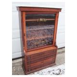 "1890 Victorian Cherry Counter Top Store Display Cabinet for ""Finest Perfumes"""