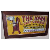 "1890 Litho on Linen Country Store Advertising Sign for ""The Iowa Seperator"""
