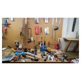 Assorted Tools with Sawhorses