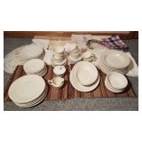 Table Linens and White China