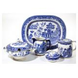 Large collection of the Blue Willow pattern made by Buffalo Pottery. From the collection of the...