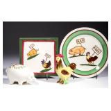 "Quirky designs and figures featuring ""HAM"" and ""EGGS"" appropriately labeled over a pig and chicken.."
