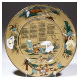 Rare 1910 Buffalo Pottery Deldare calendar plate with whimsical polychrome designs of fairies,...