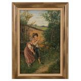 Fritz Ilg (active mid 19th century) oil on panel sentimental genre painting