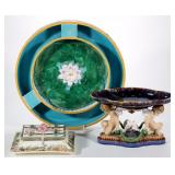 A fine selection of English and Continental majolica ceramics including exquisite forms and decorati