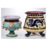 Two large marked Minton English majolica jardinieres having ornate molded designs and bright colors