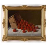 """Austin Wooster (American, 1838-1910) oil on board still-life painting of strawberries, 9 ½"""" x 12 ½"""""""