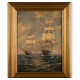 "Edward Moran (American, 1823-1903) oil on board historical marine scene (c. 1880), 15 ½"" x 11 ½"" sig"