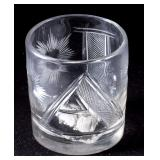 """Important American """"AJ"""" cut glass tumbler with Andrew Jackson sulphide base, Pittsburgh area, circa"""