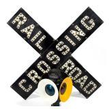 Vintage railroad signage and memorabilia