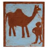 "Jimmy Lee Sudduth (1910-2007) portrait of man and a camel, oil on plywood, 34"" x 30"