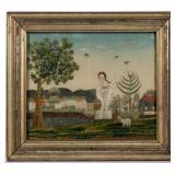 Very fine New England watercolor and silk-embroidered picture (c.1810), Vogel Collection, ex-Stephen