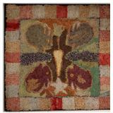 19th-century folk art figural hooked rug, Vogel Collection