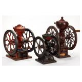 Collection of antique coffee mills / grinders
