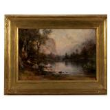 Thomas Hill (British-American, 1829-1908) oil on board Yosemite landscape, depicting Mirror Lake, fr
