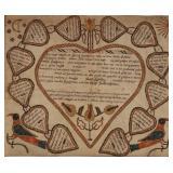 Christian Mertel (Southeastern Pennsylvania, 1739-1802) folk art fraktur taufschein for Johann Hupsc