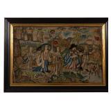 Fine Charles II needlework Biblical scene, Swinehart Collection, Ex-Hubers