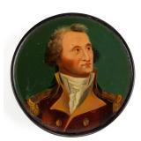 "Rare lacquered papier mache snuff box depicting George Washington, his lapel inscribed ""Adams"", poss"