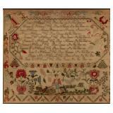 Extraordinary Tuckerton, NJ family record needlework sampler, dated 1838, of impressive size, Swineh