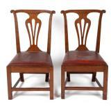 Pair of Petersburg, VA Chippendale walnut side chairs