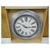 "Brookwood 20"" Antique Silver Wall Clock - current bid $10"