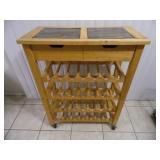 Light Oak 28 Bottle Wine Rack - current bid $10