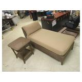 PATIO CHAISE RECLINER AND SIDE TABLE
