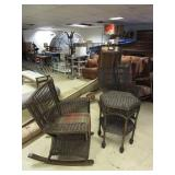 WICKER ROCKERS AND TABLE