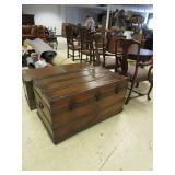 RUSTIC WOODEN TRUNK WITH SEA CHEST DESIGN.