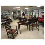 QUARTER SAWN OAK CHAIRS WITH LIBRARY TABLE