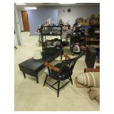 CHAIR, DROP LEAF COFFEE TABLE AND LAMP