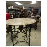 MARBLE TOP TABLE AND BENCH