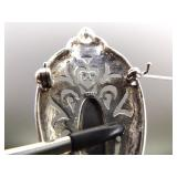 .925 Sterling Silver Art Nouveau Black Onyx Petal Brooch