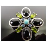 .925 Sterling Silver Multi Stone Cabochon Brooch Pendant Combination