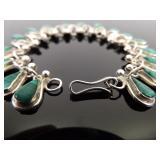 .925 Sterling Silver Malachite Pear Cabochon Zuni Southwest Bracelet