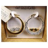 .925 Sterling Silver 10k Plated Swarovski Reversible Hoop Earrings