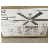 Home Decorators Collection Renwick 60 in. Integrated LED Indoor Brushed Nickel Ceiling Fan with Light Kit and Remote Control in good condition