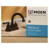 MOEN Banbury 4 in. Centerset 2-Handle High-Arc Bathroom Faucet in Mediterranean Bronze in good condition