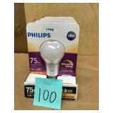 Philips Lightbulbs 75W Equivalent Soft White Household A19 Dimmable LED QTY 4 in good condition