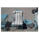 9 Piece Green Wrought Iron Patio Set: