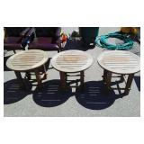 3-Round Teak Wood Patio Side Tables (24 Inch Diameter x 20 Inches Tall)