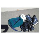 1-Pair Of Roller Blades Size 8 1/2. Include Pads, Helmet & Case.