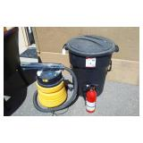 Rubbermaid 32 Gallon Garbage Can With Lid, Genie 2 HP Shop Vac, Fire Extinguisher