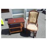 Vintage Armless Rocker Button Back With Tack Upholstery & Fancy Parlor Table With Shelf 24x13x24