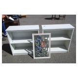 2-White Book Shelves & 1-Stain Glass Look Picture