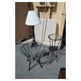 2-Round Glass Top Tables With Wrought Iron Bases 24x12, 1-Lamp With Shade 28 Inches T
