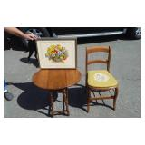 Vintage Chair With Needle Point Seat Cute Little Gate Leg Side Table 21x10x21, Framed Needle Work