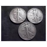 1937 P, D, S Walker Half Dollars