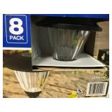 Hampton Bay Solar Black Outdoor Integrated LED Landscape Path Light with Ribbed Pattern Glass Lens (8-Pack) not used