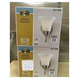 Commercial Electric 1-Light Brushed Nickel Sconce with Frosted White Glass Shade n good condition